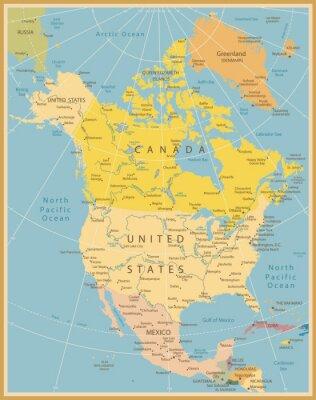 Carta da parati America del Nord dettagliata mappa d'epoca Colori