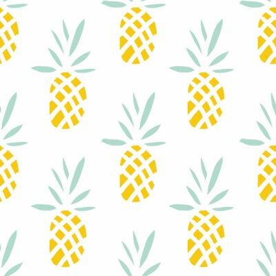 Carta da parati Ananas su sfondo bianco. Vector seamless con frutta tropicale.