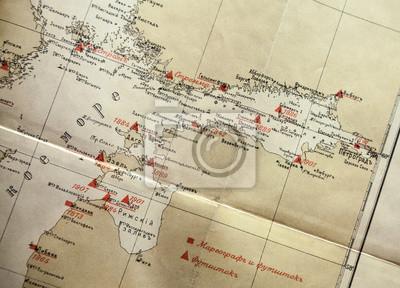 Carta da parati Ancient giallo Russo mappa frammento di navigazione con etichette rosse
