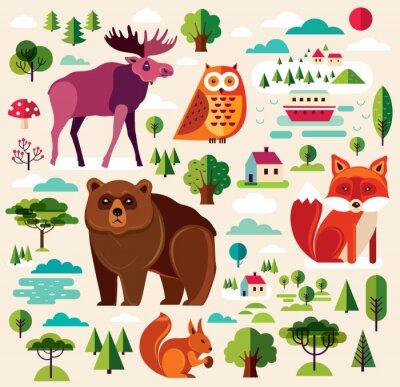 Carta da parati animali della foresta colletion