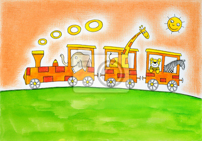 Disegno Di Un Bambino : Animali in viaggio disegno del bambino pittura ad acquarello carta
