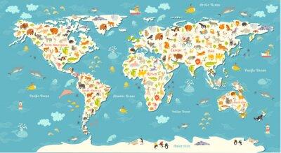 Carta da parati Animali mappa del mondo. Bella allegro illustrazione vettoriale colorato per bambini e ragazzi. Con l'iscrizione degli oceani e continenti. Prescolare, bambino, continenti, oceani, disegnato, Terra