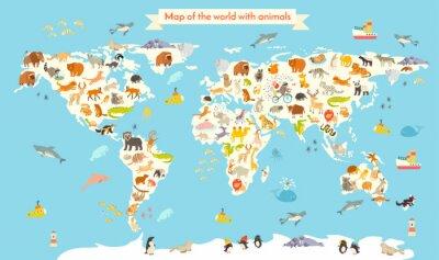 Carta da parati Animali mappa del mondo. Illustrazione vettoriale colorato cartone animato per bambini e ragazzi. Prescolare, educazione, bambino, continenti, oceani, disegnato, Terra