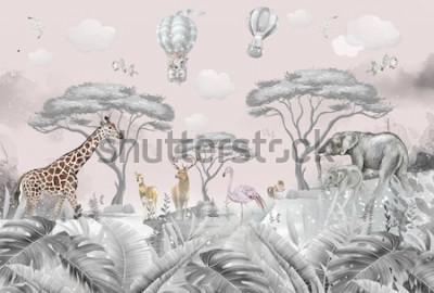 Carta da parati animals in the forest children's room wallpaper design
