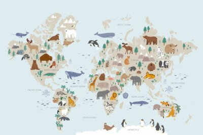 Carta da parati Animals world map for kids. Poster with cute vector animals in flat style. Cartoon doodle characters in scandinavian style for children