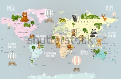 Carta da parati Animals world map for kids wallpaper design