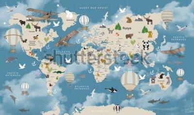 Carta da parati Animals world map for kids wallpaper design Turkish articles