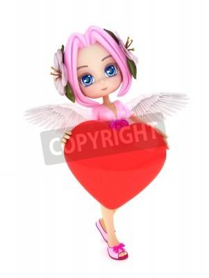 Anime Cupido Con Ali E Un Cuore Con Spazio Per Il Testo O Lo Carta