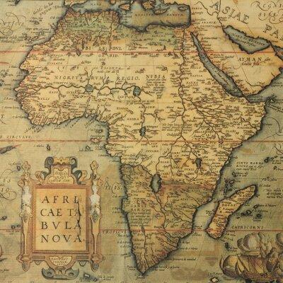 Carta da parati antica mappa d'Africa per Olandese cartografo Abraham Ortelius