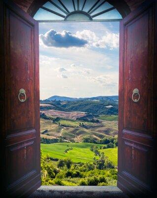 Carta da parati Aprire la porta e del paesaggio
