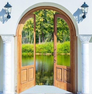 Carta da parati Arch door open pond