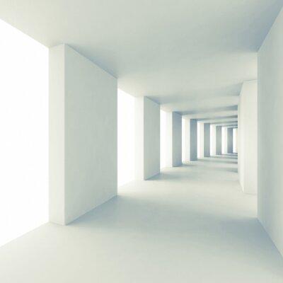 Carta da parati Architettura astratto sfondo 3d, corridoio bianco vuoto