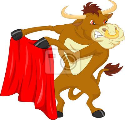Arrabbiato toro cartone animato carta da parati u carte da parati