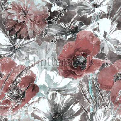 Carta da parati arte vintage acquerello colorato motivo floreale senza soluzione di continuità con papaveri rossi e bianchi, peonie, rose, foglie ed erbe su sfondo grigio scuro
