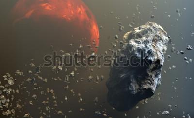 Carta da parati Asteroidi o meteoriti si trovano nello spazio, formazione di pianeti. Illustrazione 3D