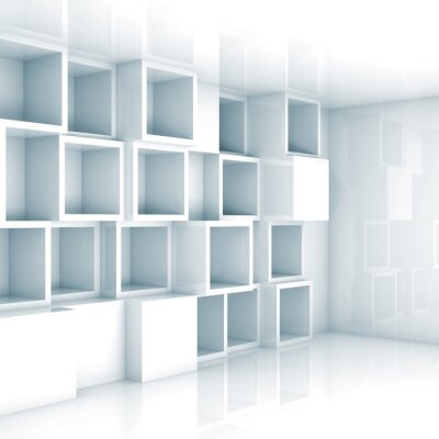 Carta da parati Astratta 3d interior vuoto, bianche vuote scaffali cubo sul muro