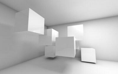 Carta da parati Astratta 3d interno vuoto con cubetti di volo bianche