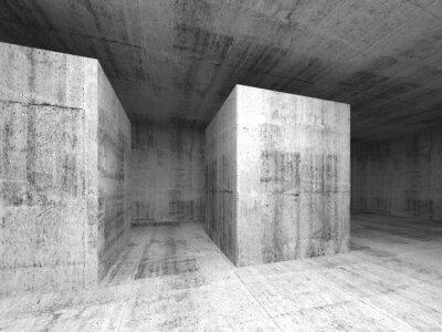 Carta da parati Astratta grigio stanza di cemento vuota oscura, interior 3d