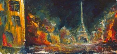 Carta da parati Astratta notte parigi. Città vecchia olio originale su canvas.Modern