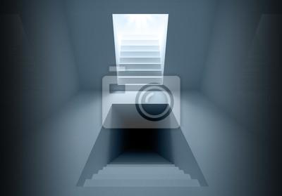 Carta da parati Astratto architettura d'interni con i portali di illuminazione delle scale