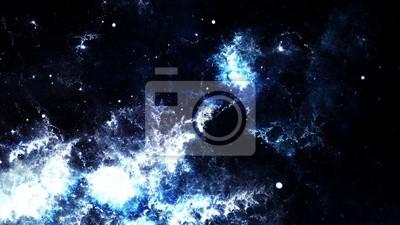 Carta da parati astratto digitale di un luminoso e colorato galassia nebulosa e stelle