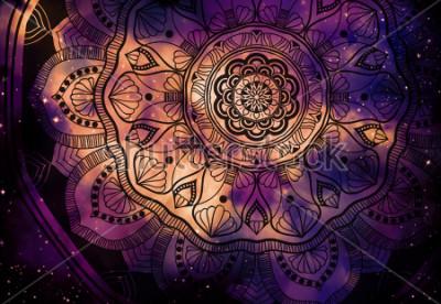 Carta da parati Astratto geometrico con campo stellare e sfondo colorato galassia, pittura digitale acquerello arte e progettazione grafica mandala
