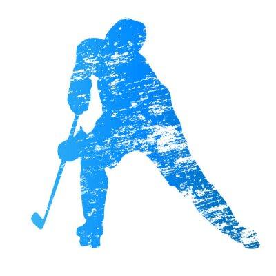 Carta da parati Astratto grungy vettore giocatore di hockey su ghiaccio