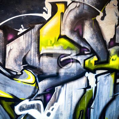 Carta da parati Astratto moderno frammento graffiti colorati sul muro di cemento
