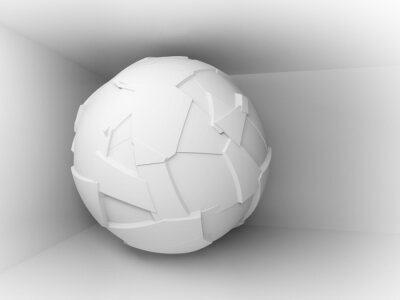 Carta da parati Astratto sfondo 3d con il bianco grande sfera volante