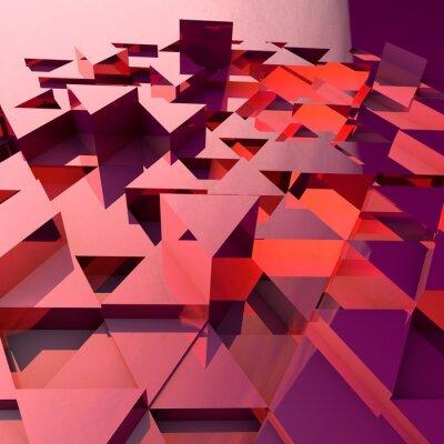 Carta da parati Astratto sfondo 3d con triangoli rossi poligonali.