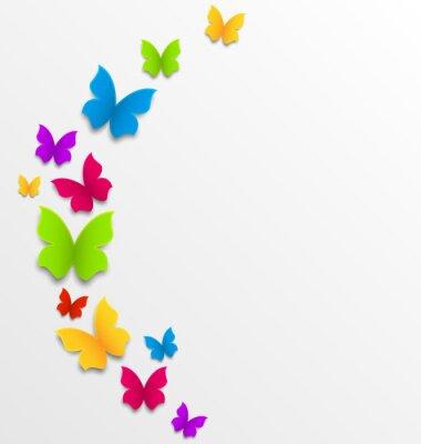 Carta da parati Astratto sfondo primavera con le farfalle arcobaleno