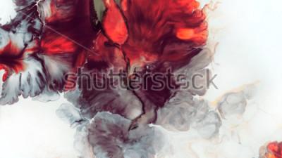 Carta da parati Astratto sfondo rosso Celle macro. Fiore rosso. Vernici acriliche Trama di marmo Arte contemporanea.