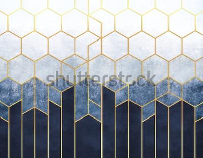 Carta da parati Astrazione geometrica di esagoni su uno sfondo di rilievo blu con elementi in oro. Affresco per la stampa di interni, sfondi.