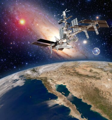 Carta da parati astronomia satellite Terra della stazione spaziale internazionale ISS meteorologia via lattea galassia. Elementi di questa immagine fornita dalla NASA.
