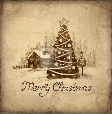 Disegni Paesaggi Di Natale.Auguri Di Natale Con Illustrazione Del Paesaggio Invernale Carta Da Parati Carte Da Parati Capsula Festival Vignette Myloview It