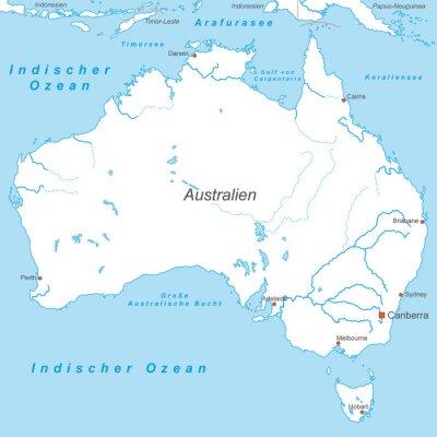Carta da parati Australia in Weiß (beschriftet) - Vektor