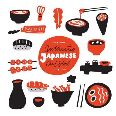 Carta da parati Authentic japanese cuisine.Hand drawn food. Doodles. Made in vector.
