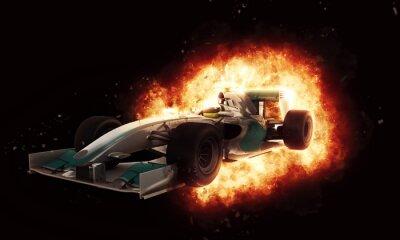 Carta da parati auto da corsa 3D con effetto esplosione di fuoco