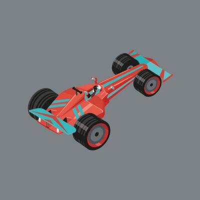 Carta da parati auto sportive isometrica. Isolata auto vettore cartone animato per le corse. Red automobilistica sport con un corridore all'interno.