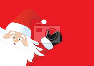 Sfondi Babbo Natale.Babbo Natale Su Uno Sfondo Rosso Carta Da Parati Carte Da Parati Santa Claus Natale Vacanza Myloview It