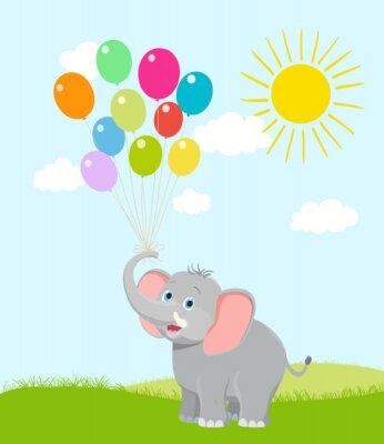 Carta da parati baby elefante con palloncini, nuvole e sole. Vector cartoon. occasione fortuna