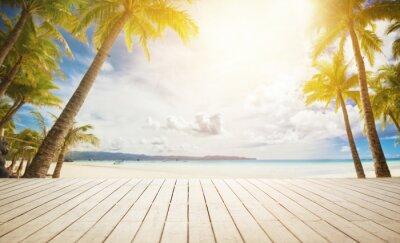 Carta da parati bacino di legno con sfondo tropicale