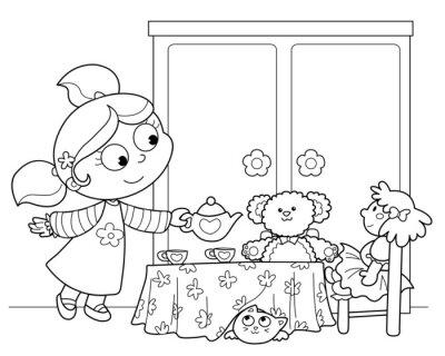 Carta da parati Bambina Che Gioca una Servire il te alle bambole