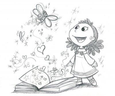 Carta da parati Bambina con libro di fantasia
