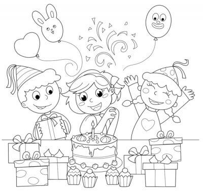 Carta da parati Bambina felice Che festeggia il compleanno