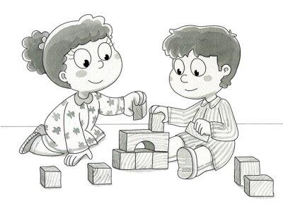 Carta da parati Bambini Che giocano con cubetti. Bn