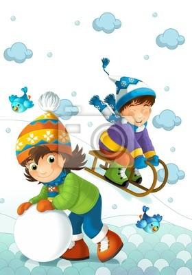 Bambini Che Giocano Sulla Neve Carta Da Parati Carte Da Parati