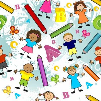 Carta da parati Bambini con nuvole fondo bianco senza soluzione di continuità