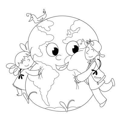 Carta da parati Bambini Felici Che abbracciano la terra, da colorare
