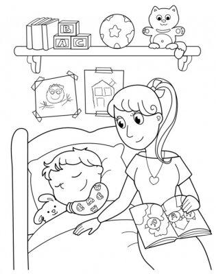 Carta da parati Bambino addormentato con la mamma